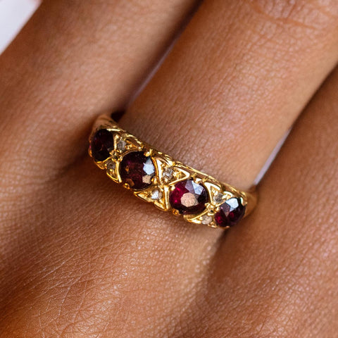 vintage 18k ruby and diamond four stone ring solid yellow gold fine vintage jewelry