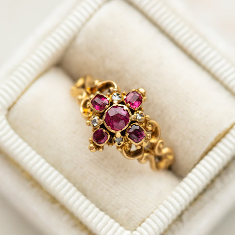 vintage scrollwork garnet and diamond ring ornate authentic solid gold vintage jewelry