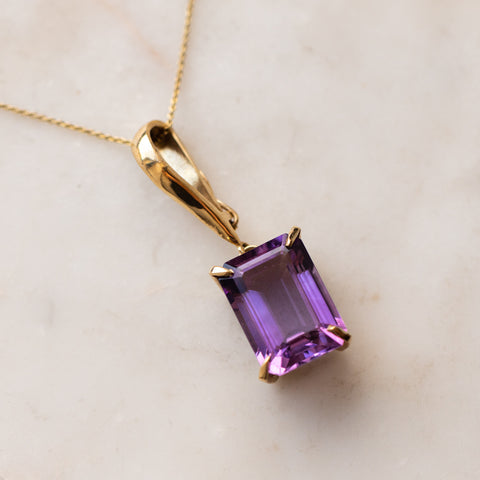 Vintage 14k Emerald Cut Amethyst Pendant solid yellow gold jewelry