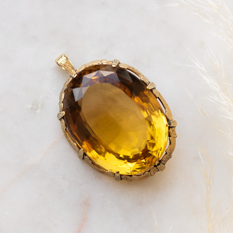 Vintage Citrine Pendant with Foliate Engraving