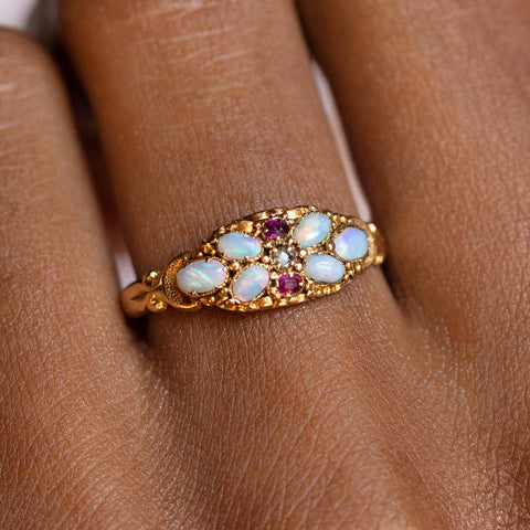 vintage 18k early 19th century opal ruby and diamond ring