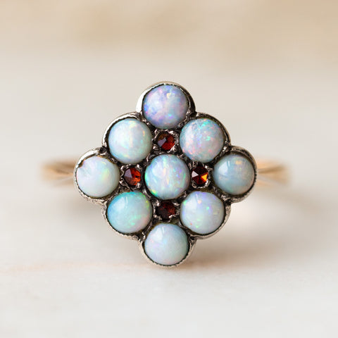 vintage 9k opal and garnet ring unique authentic solid gold vintage jewelry