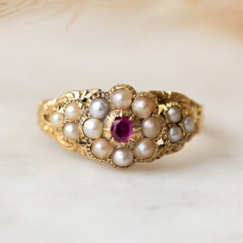 vintage mid 19th century pearl and ruby ring authentic fine solid gold jewelry