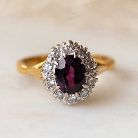 vintage purple sapphire and brilliant cut diamond cluster ring