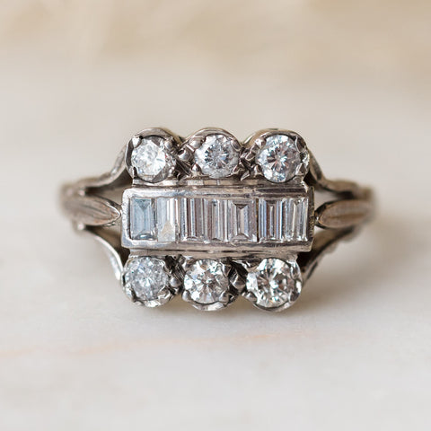 Vintage 18k Cocktail Ring with Baguette and Brilliant Cut Diamonds