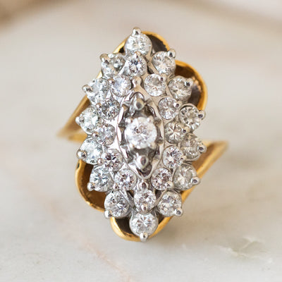 Vintage 14k Brilliant Cut Diamond Bi Color Ring unique statement jewelry