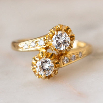 Vintage 14k Floral Diamond Wrap Ring unique statement yellow gold solid gold jewelry