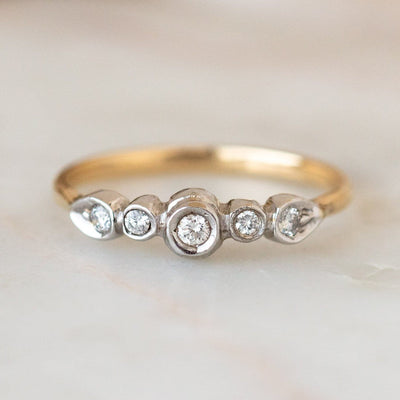 Vintage 14k Mixed Metal Diamond Ring unique yellow white gold dainty ring