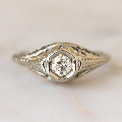 Vintage 14k Ornate Art Deco Diamond Ring solid fine unique jewelry