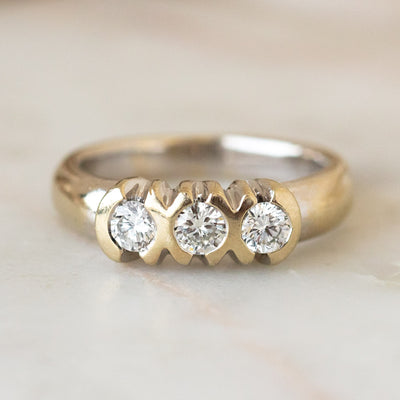 Vintage 18k Wide Band Diamond Ring chunky modern unique jewelry