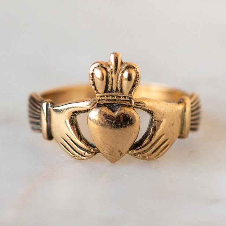 Vintage 9k Claddagh Ring fine solid gold unique jewelry