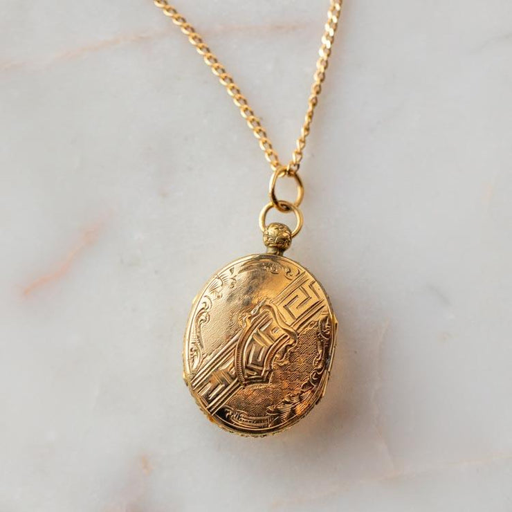 Vintage 9k Oval Ornamental Engraved Locket unique yellow fine solid gold jewelry