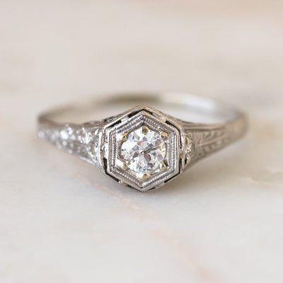 Vintage Platinum Art Deco Ring unique intricate jewelry