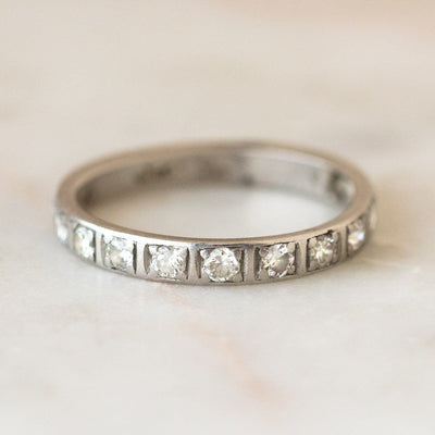 Vintage Platinum Classic Diamond Band fine solid gold unique jewelry
