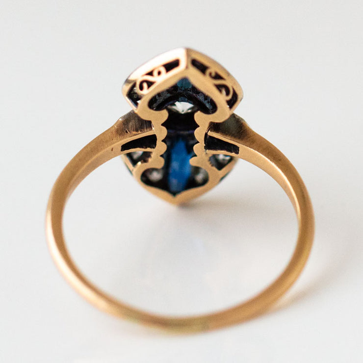 Vintage Sapphire & Diamond Dress Ring unique yellow gold fine jewelry