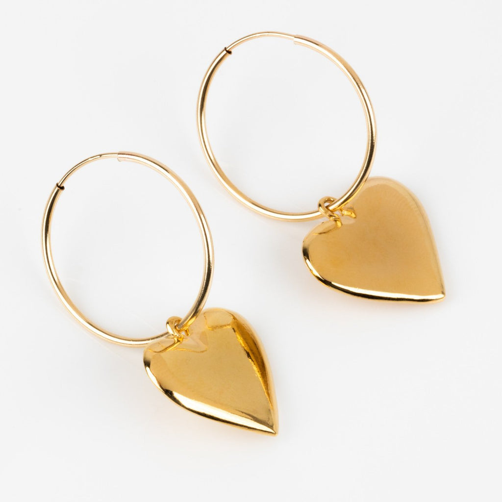 Petite Yellow Gold Heart Charm Hoops Wolf Circus Modern Jewelry
