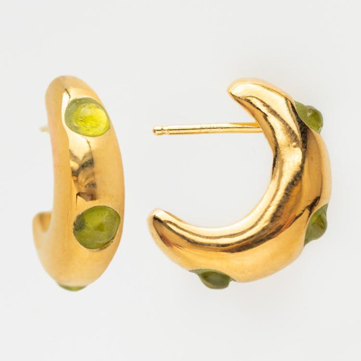 Marin Hoops in Peridot unique chunky yellow gold funk jewelry