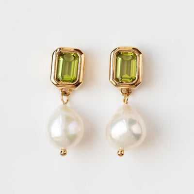 Penelope Earrings in Peridot yellow gold dainty modern pearl jewelry