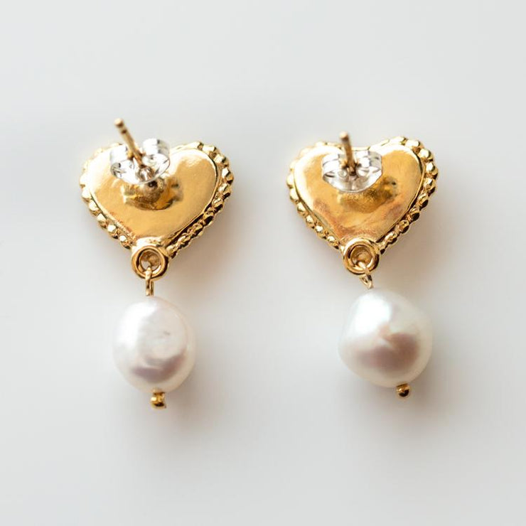 Katalina Earrings unique dainty modern yellow gold pearl ruby jewelry