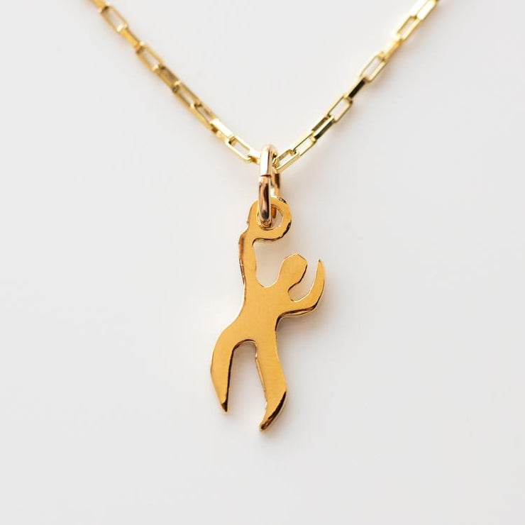 Tiny Dancer Charm Necklace unique yellow gold modern minimal jewelry