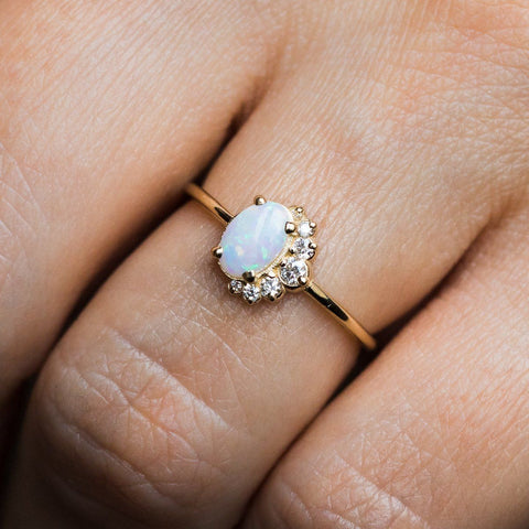White Australian Opal & Diamond Astra Ring - rings - Melanie Casey local eclectic