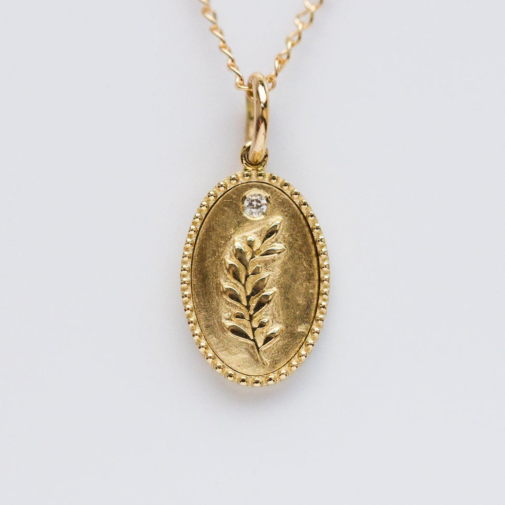 10K Solid Gold Olive Branch Pendant with Diamonds - necklaces - Zahava local eclectic