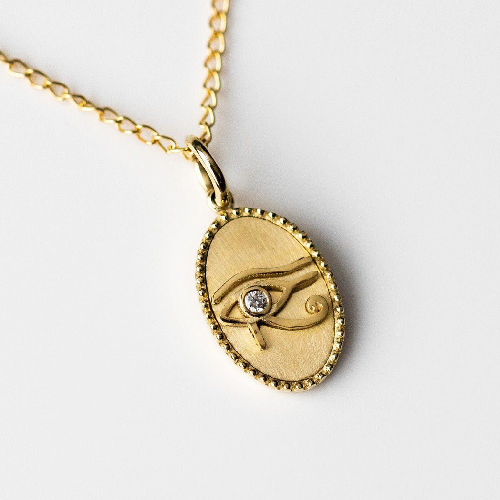 solid yellow gold necklace pendant eye hand carved diamond fine jewelry zahava exclusive