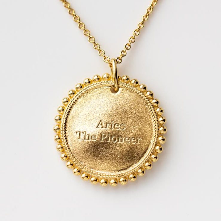 The Essential Zodiac Pendant Necklace unique personalized yellow gold personalized jewelry aries