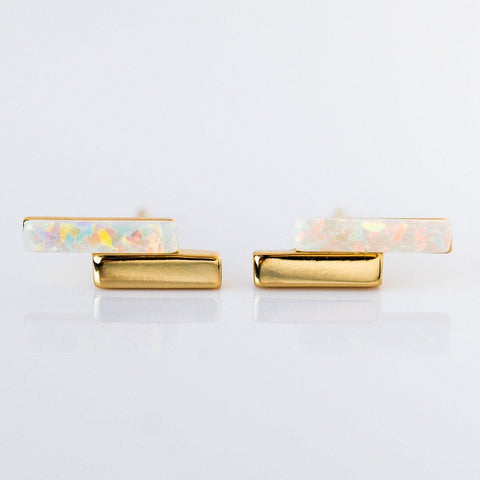 Mod Bar Gem Stud Earrings with Opal - earrings - Elizabeth Stone local eclectic