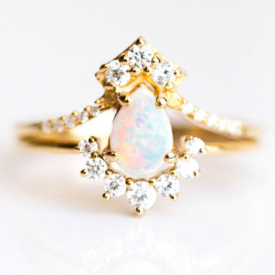 La Kaiser Opal and Diamond Gold Ring Stack