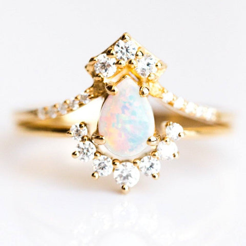 Opal & Diamond Carpe Diem Ring Stack - rings - La Kaiser local eclectic