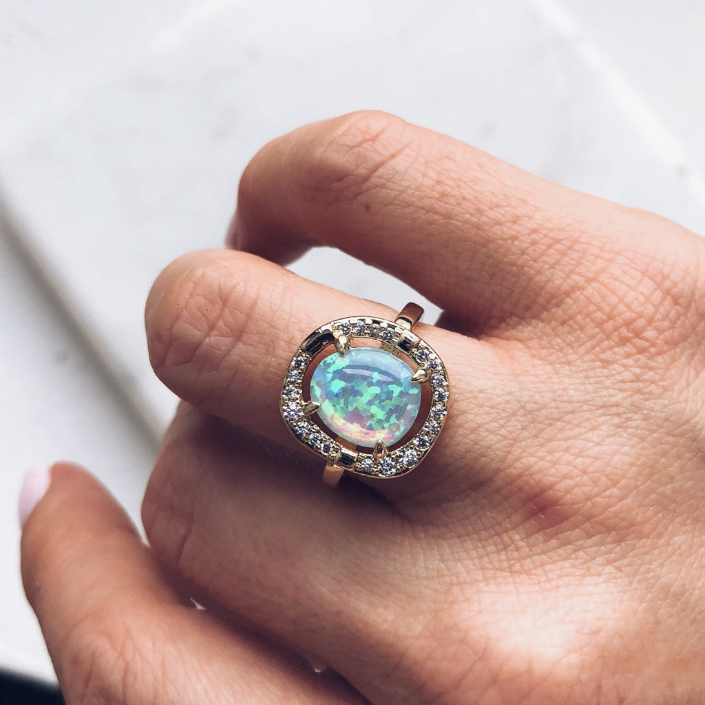 Elizabeth Ring with Opal - rings - Melinda Maria local eclectic