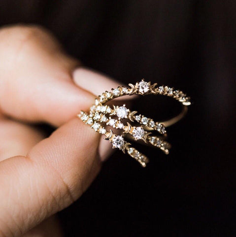 Diamond Stardust and Crescent Moon Ring - rings - Sofia Zakia local eclectic