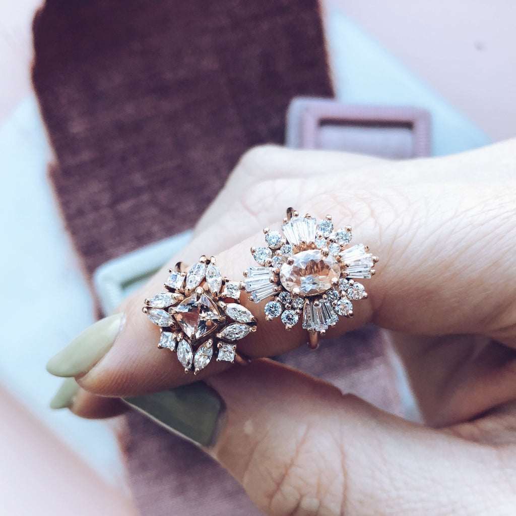 Morganite Cocktail Ring Vintage Style Rose Gold Emi Conner