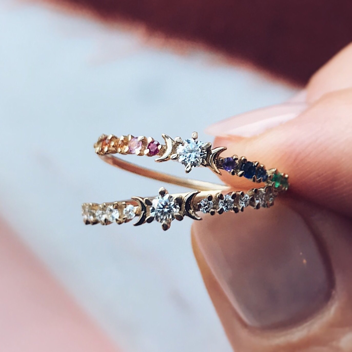 Local Eclectic  Rainbow Stardust Ring-8294