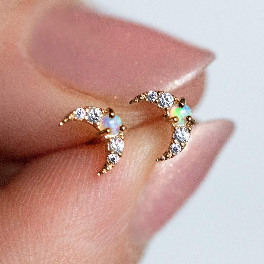 Mini Moon Opal Stud Earrings