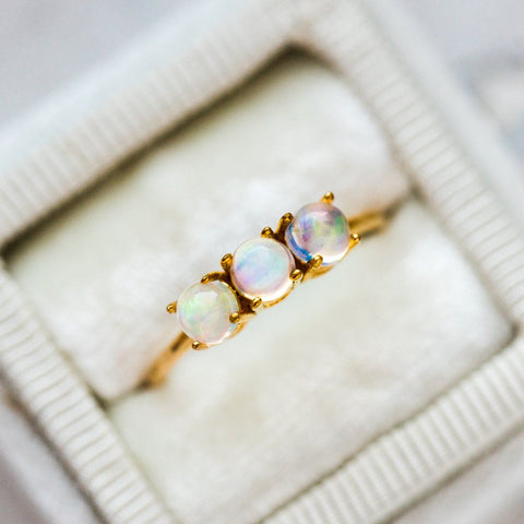 Opal Gold Ring Dainty Jewelry
