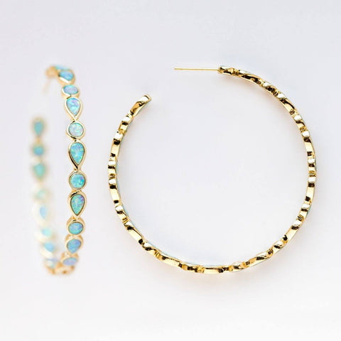 Isla Opal Hoop Earrings - earrings - Melinda Maria local eclectic