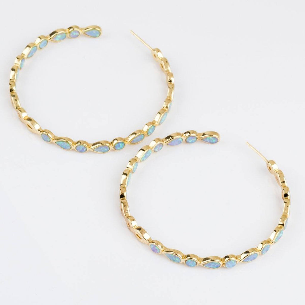 Isla Opal Hoops Unique Earrings