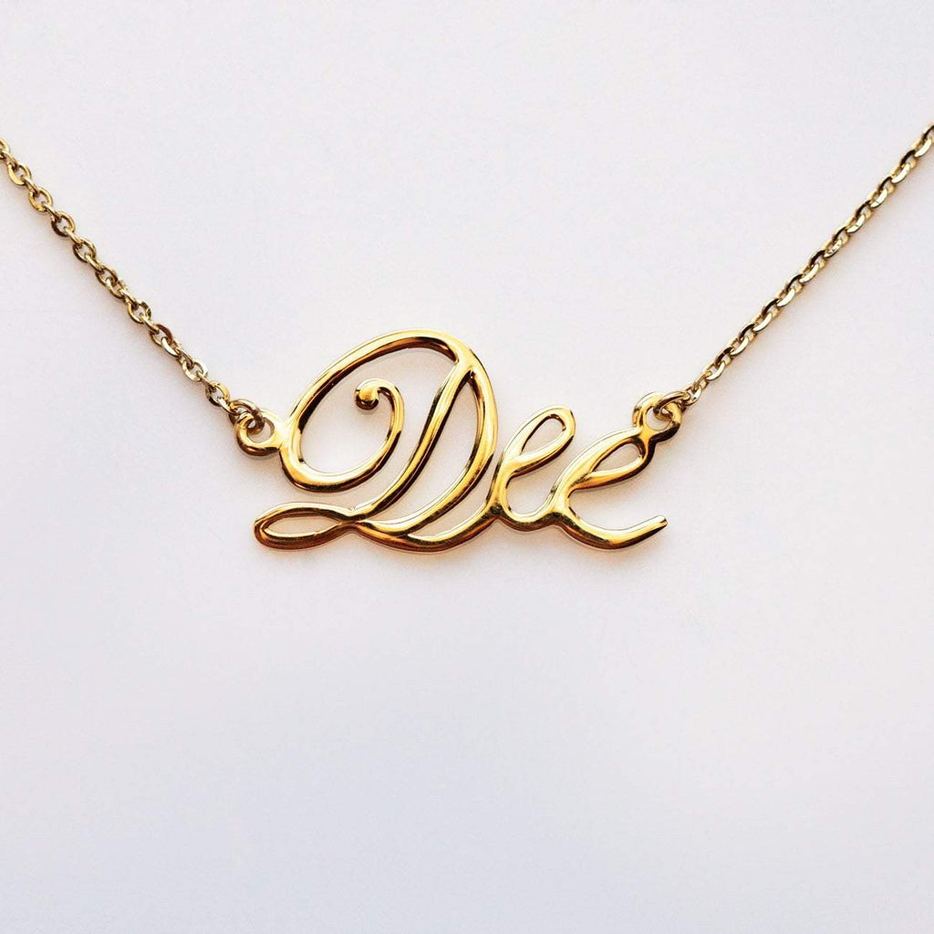 Solid Gold Nameplate & Word Necklace