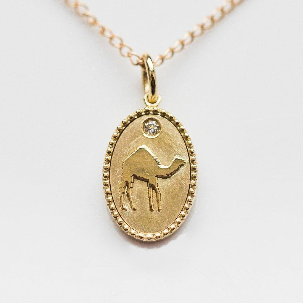 10K Solid Gold Camel Pendant with Diamond - necklaces - Zahava local eclectic