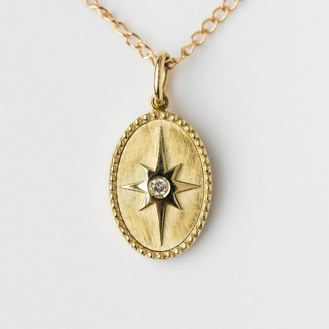10K Solid Gold Star Pendant with Diamond - necklaces - Zahava local eclectic