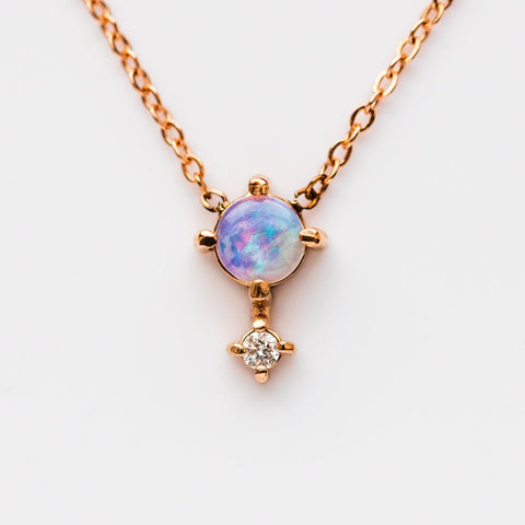 14K Opal Diamond Love Drop Necklace - necklaces - Liesel Love local eclectic