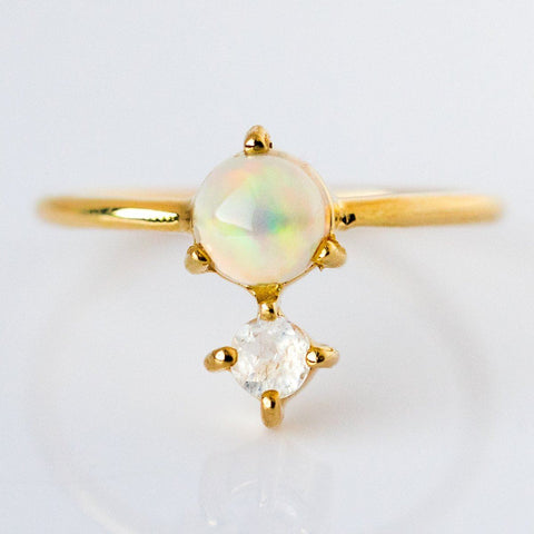 Opal & Moonstone Ring - rings - Leah Alexandra local eclectic