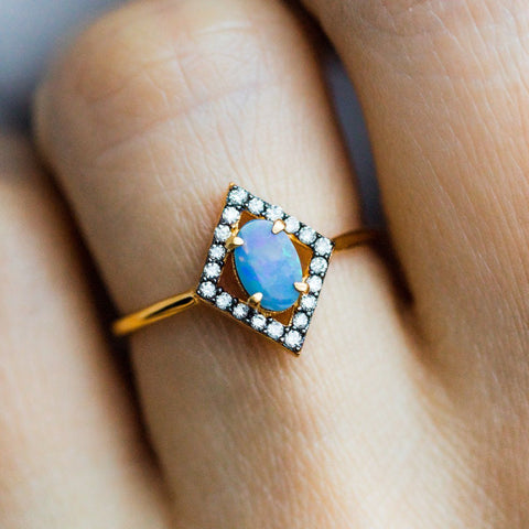 Australian Blue Opal & Diamond Ring - rings - Carrie Elizabeth Jewelry local eclectic
