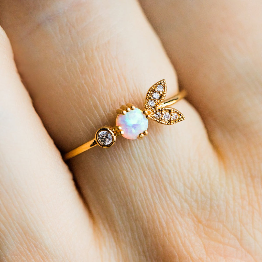 Opal Petal Stacking Ring - rings - Tai Jewelry local eclectic