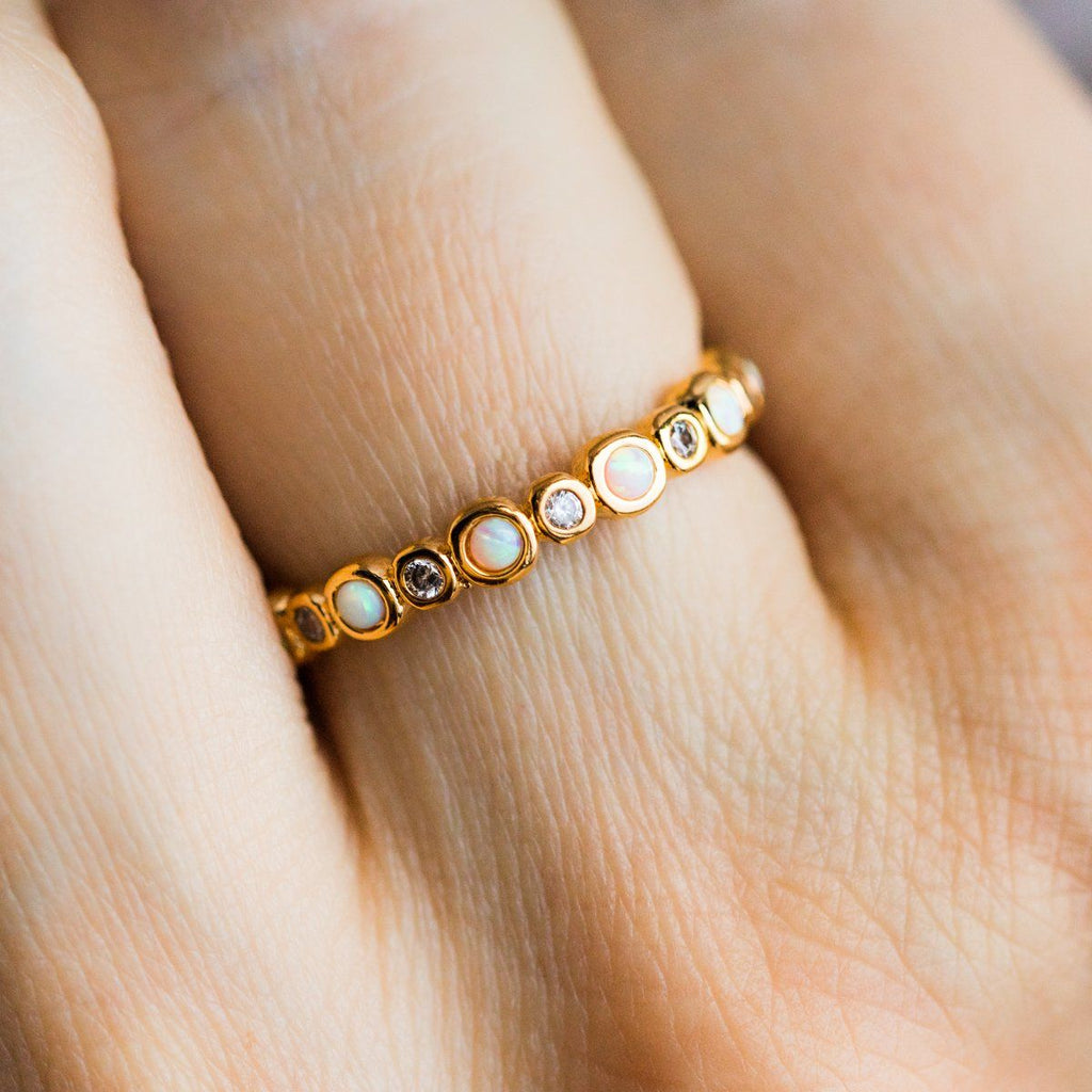 Opal & Diamond Halo Infinity Band Gold Ring Tai Jewelry