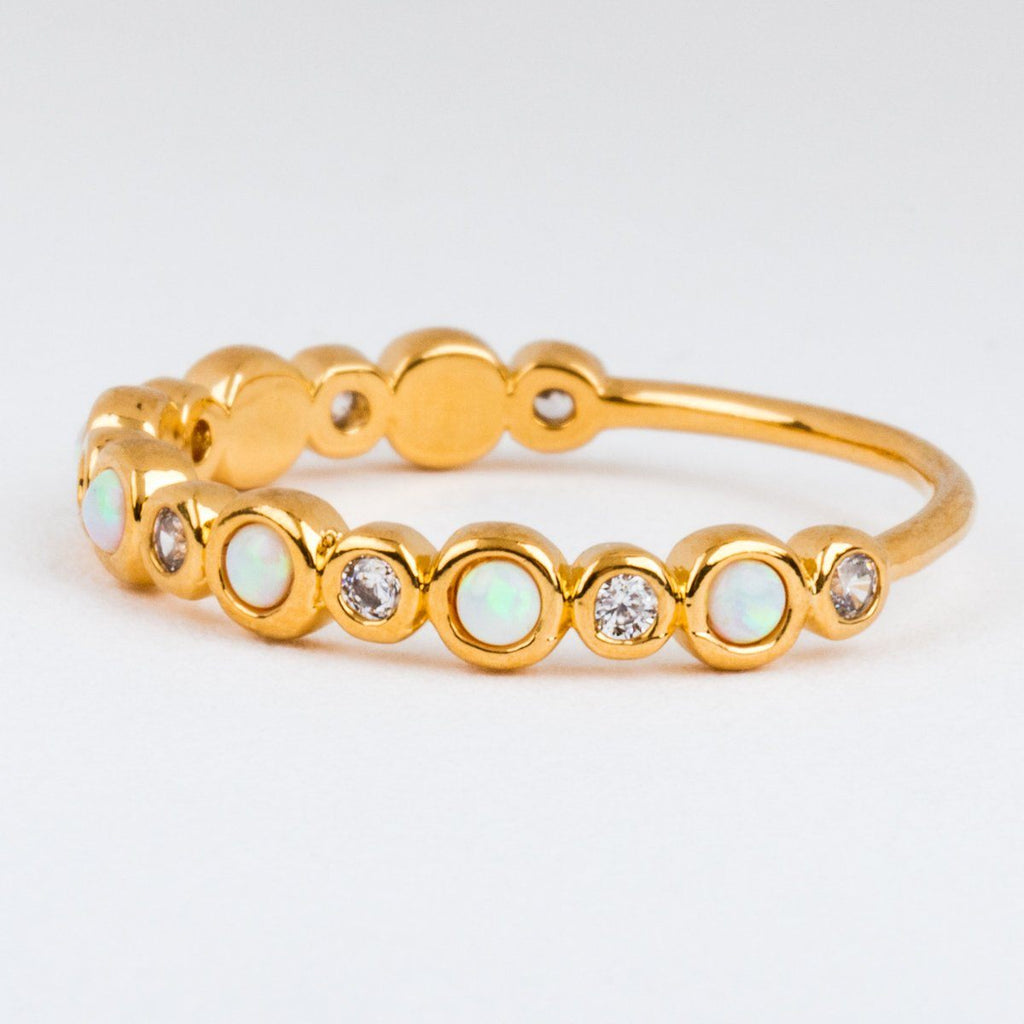 Opal & Diamond Infinity Band Dainty Gold Ring
