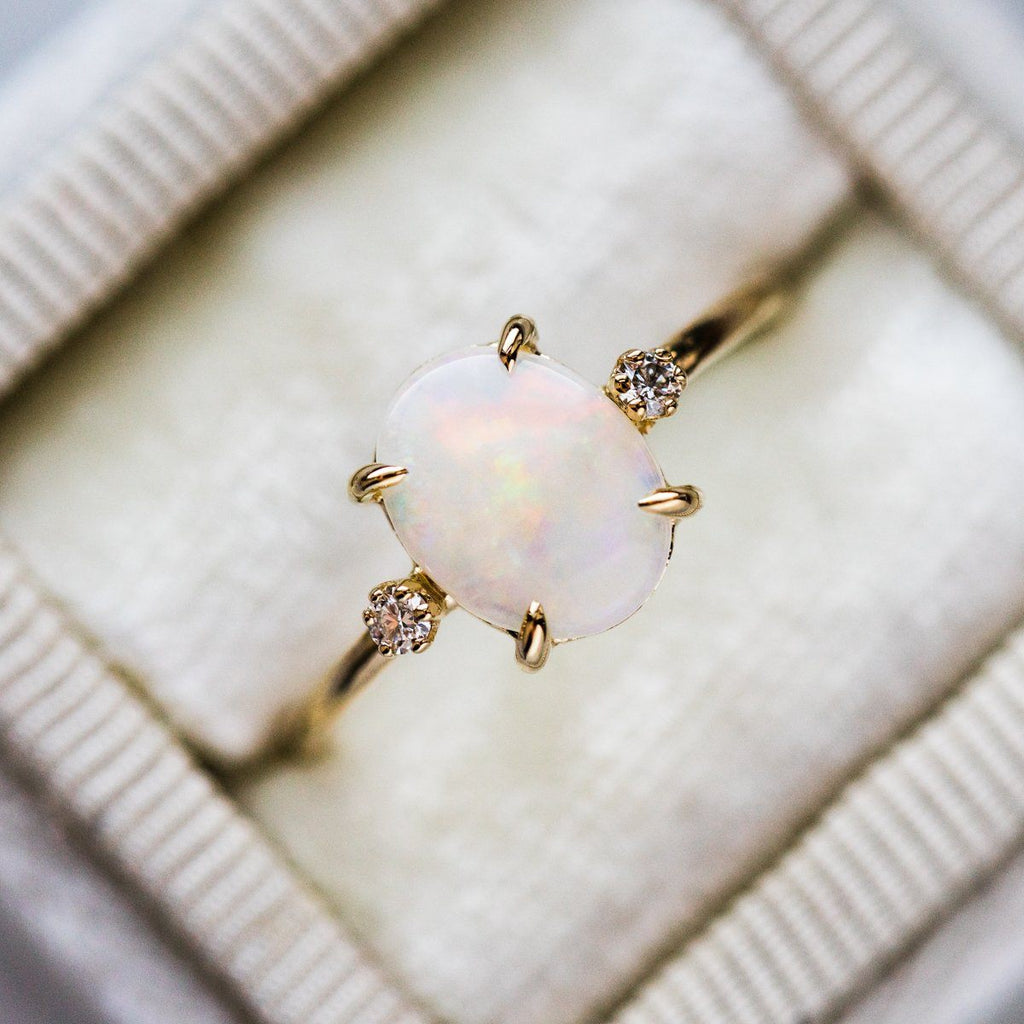 Australian Opal Ring with Diamonds - rings - Charlie and Marcelle local eclectic