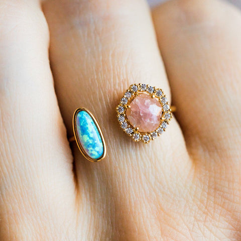Opal & Pink Lady Hugging Ring - rings - Tai Jewelry local eclectic